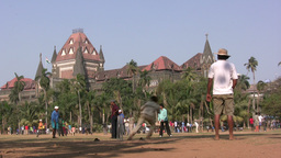 Playing cricket in front of Bombay University Footage