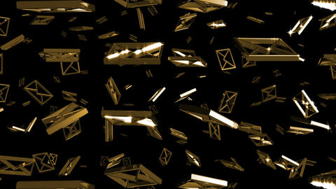 Looping Silver and Gold E-mail Symbols Falling Stock Video Footage
