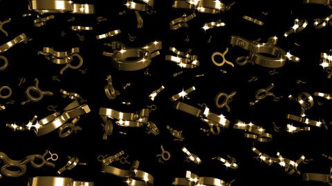 Looping Silver and Gold Zodiac Taurus Symbols Falling Stock Video Footage