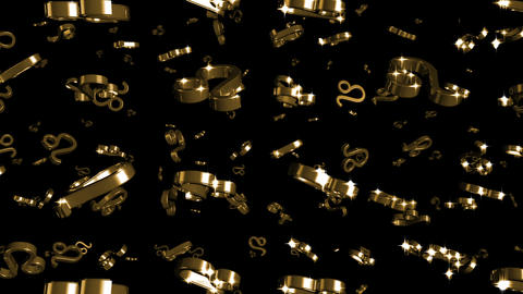 Looping Silver and Gold Zodiac Leo Symbols Falling Stock Video Footage