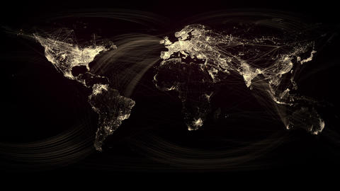 Glowing Network Lines Lighting Up World Map (Gold Version) Stock Video Footage