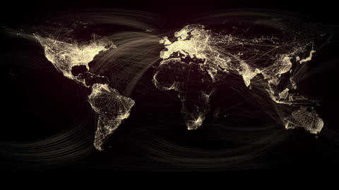 Glowing Network Lines Lighting Up World Map (Gold Version) Animation