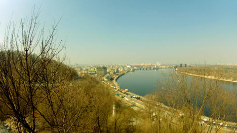 Dnipro river in Kyiv Stock Video Footage