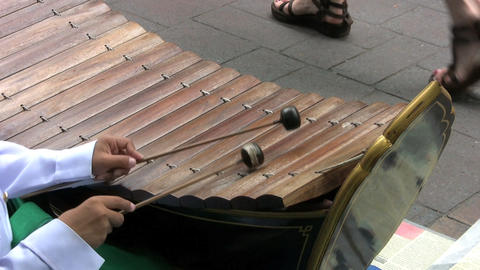 Asian Boy Playing A Wooden Xylophone Footage