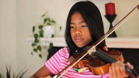 Asian Girl Practising Violin Footage