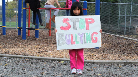Asian Girl With Stop Bullying Sign Footage