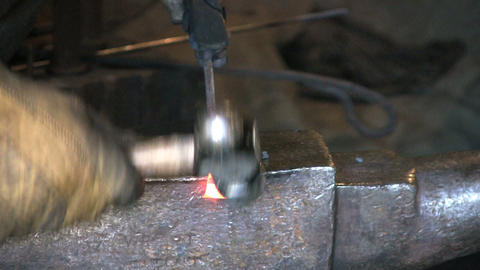 Blacksmith Shaping Metal Stock Video Footage