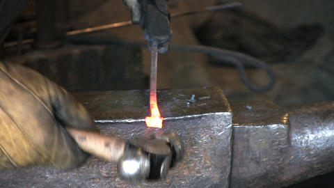 Blacksmith Shaping Metal Footage
