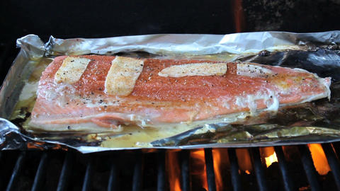 Cooking Fresh Salmon On BBQ Footage