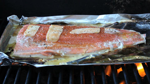 Cooking Fresh Salmon On BBQ Stock Video Footage