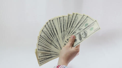 Man Paying With American Dollars On White Background stock footage