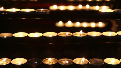 Burning candles in the St. Stephan cathedral, Vienna,... Stock Video Footage