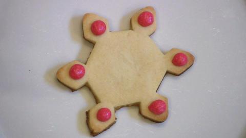 Decorating Christmas Snowflake Cookie Stock Video Footage