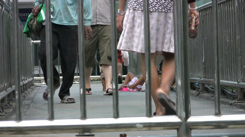Desperate Mother Begs On Walkway Stock Video Footage