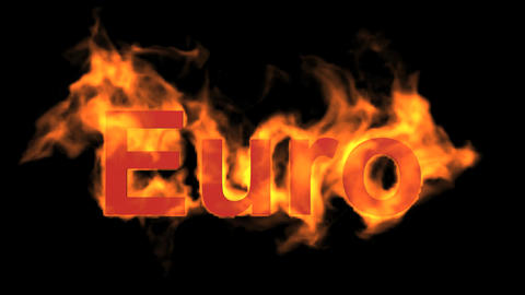 flame Euro text Stock Video Footage
