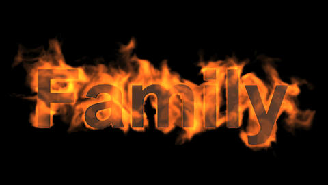 fire family word,fire text Animation