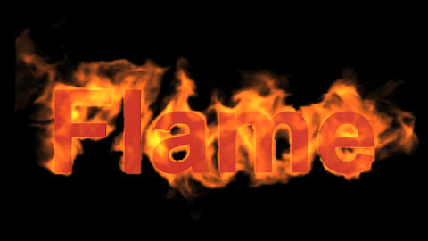 burning flame word Animation
