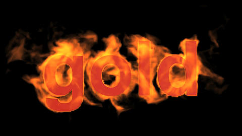 fire gold word Animation