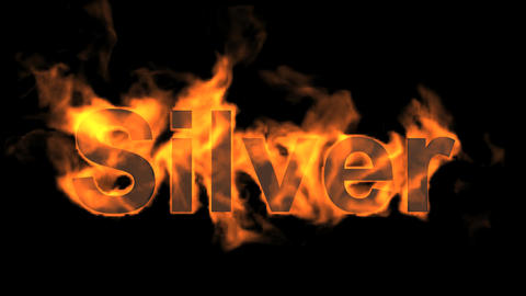 fire silver word,flame text Animation