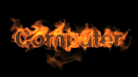 flame computer word Stock Video Footage
