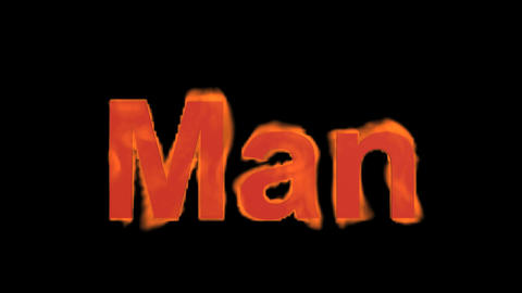 flame man word,fire text Stock Video Footage