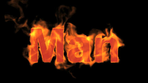 flame man word,fire text Animation