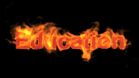 burning education word,fire text Animation