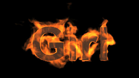 flame girl word,fire text Animation