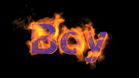 flame boy word,fire text Animation