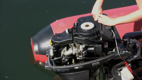 Fixing An Outboard Motor Stock Video Footage