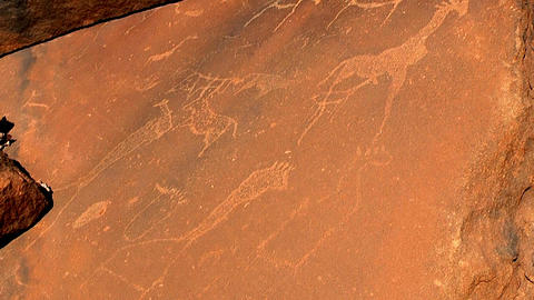 ancient rock engravings on sandstone slabs Stock Video Footage