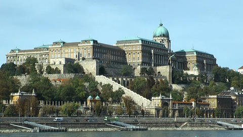 Budapest castle seen across the danube Stock Video Footage