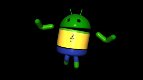 Android Robot - Club Dancing - Loop + Alpha Stock Video Footage