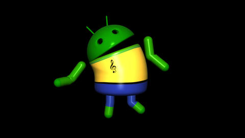 Android Robot - Club Dancing - Loop + Alpha stock footage