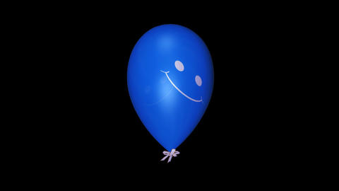 Smiley Balloon - Blue - Loop + Alpha Animation