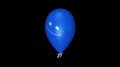 Smiley Balloon - Blue - Loop + Alpha Stock Video Footage