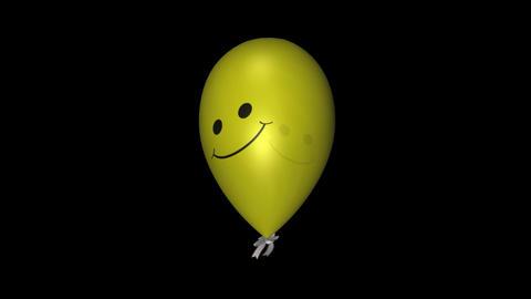 Smiley Balloon - Yellow - Loop + Alpha Stock Video Footage