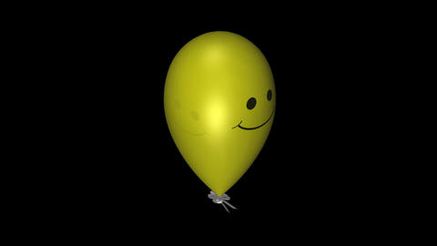 Smiley Balloon - Yellow - Loop + Alpha Stock Video Footage