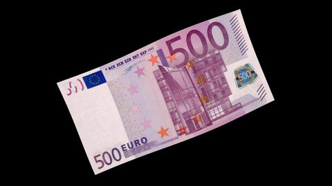 500 EUR Bill - 3D Diagonal Spinning Loop Animation