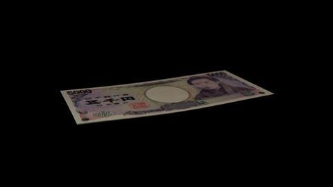 5000 JPY Bill - 3D Diagonal Spinning Loop Stock Video Footage