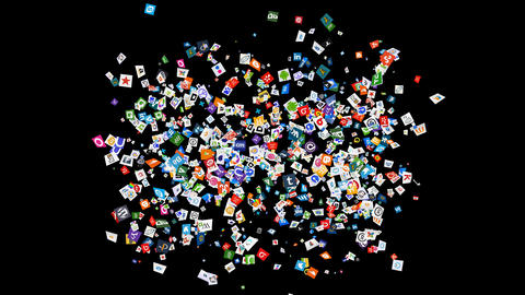 Social Media Confetti Explosion - 01 Stock Video Footage
