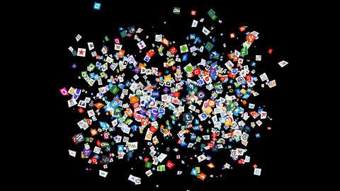 Social Media Confetti Explosion - 01 Stock Video Footage