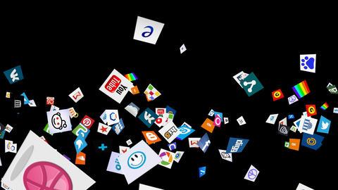 Social Media Confetti Explosion - 03 Stock Video Footage