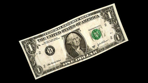 1 USD Bill - 3D Diagonal Spinning Loop Stock Video Footage