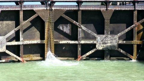 Navigation lock is filling water Footage