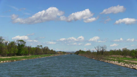 Vessel sails on the canal in nature Stock Video Footage