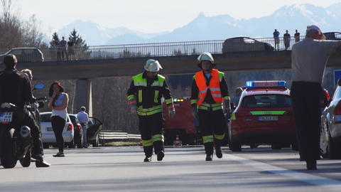 Accident on German highway in Bavaria Stock Video Footage