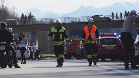 Accident on German highway in Bavaria Footage