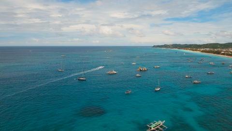 Aerial view beautiful beach on tropical island. Boracay island Philippines Footage
