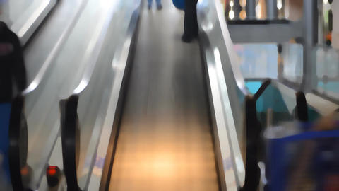 People Using The Escalator At The Mall Live Action